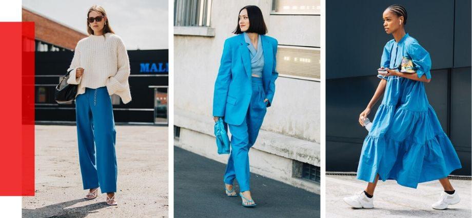10 образов уличного стиля, которые доказывают, что синий – главный оттенок весны 2020