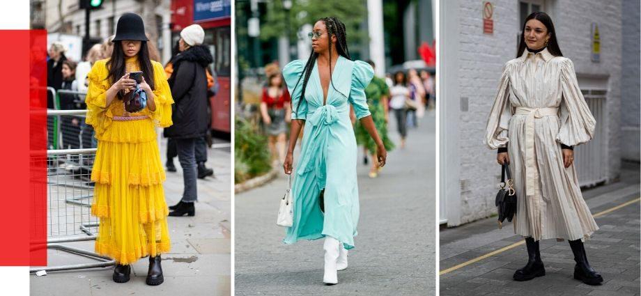 Один из главных трендов уличной моды на весну 2020 — платья с ботинками, сапогами и ботильонами.