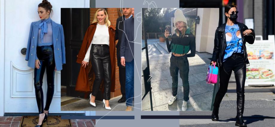 Как 7 знаменитостей, так по-разному, стилизуют кожаные брюки
