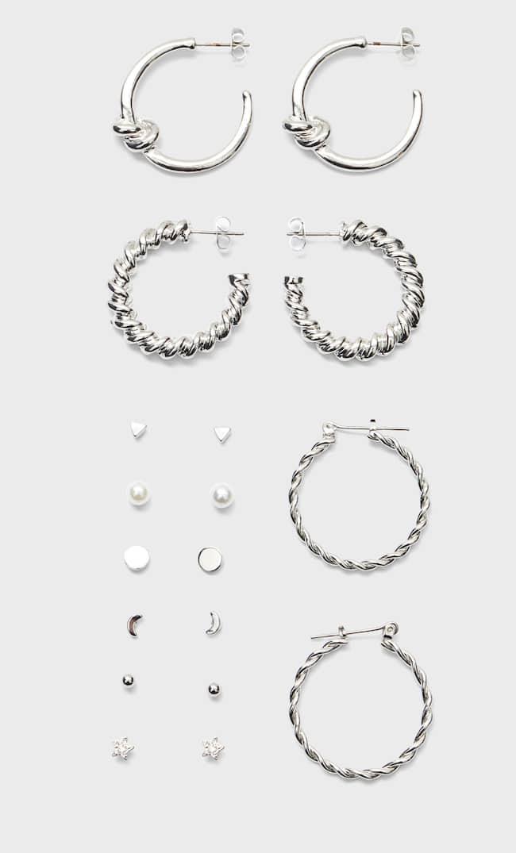Набор Из 9 Пар Серег Со Звездами Женская Коллекция Серый 103