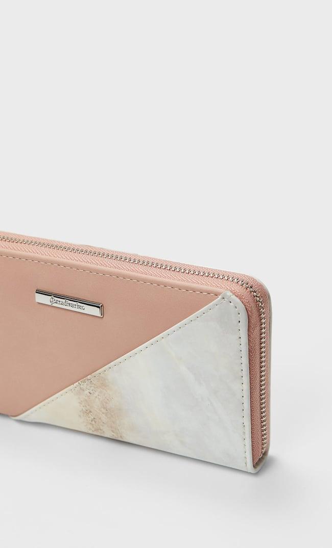 Бумажник С Молнией И Мраморным Эффектом Женская Коллекция Цвет Розового Макияжа 103