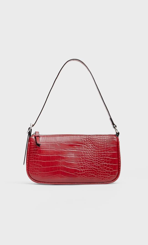 Мини-Сумка С Тиснением Под Крокодиловую Кожу И Плечевым Ремнем Женская Коллекция Красный 103