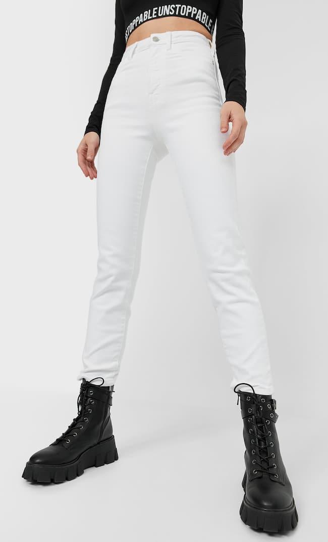 Джинсы Mom Fit Облегающего Кроя Женская Коллекция Белый 40