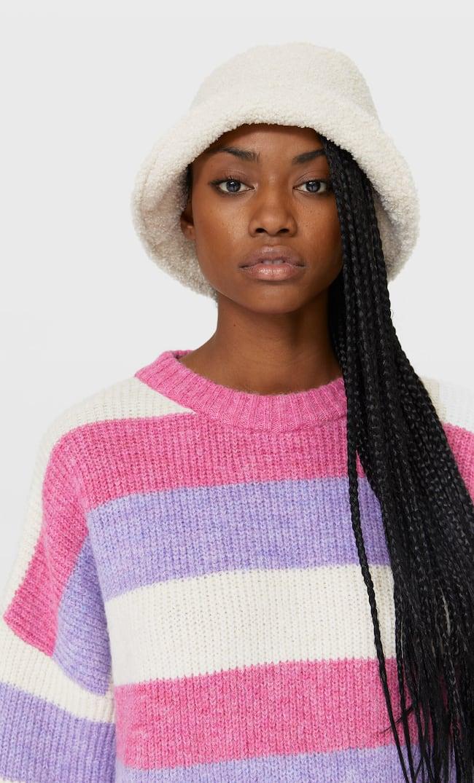 Свитер В Разноцветную Полоску Женская Коллекция Ярко-Розовый M