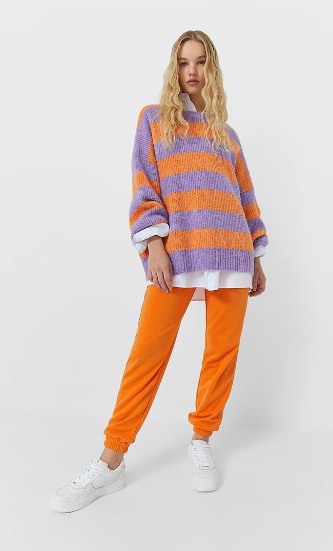 Свитер В Разноцветную Полоску Женская Коллекция Оранжевый M