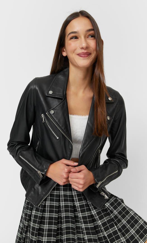 Кожаная Байкерская Куртка Женская Коллекция Черный S