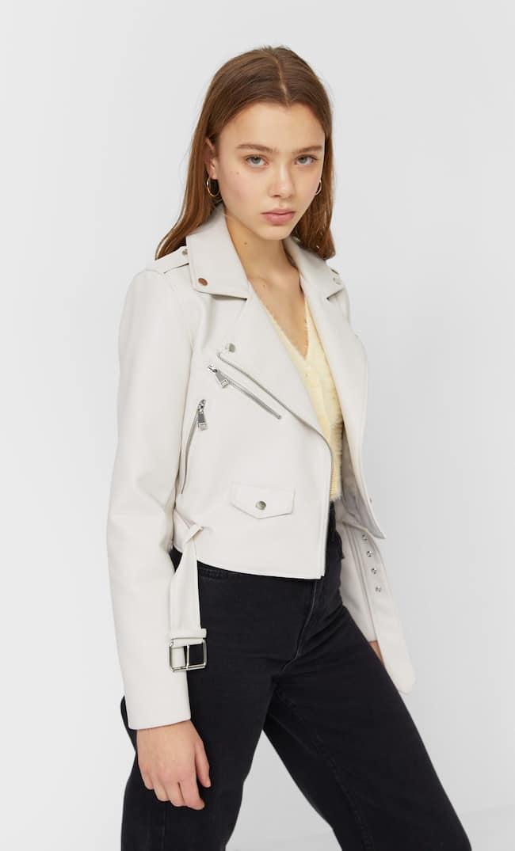 Базовая Куртка Из Искусственной Кожи С Ремнем Женская Коллекция Цвет Небеленого Полотна S