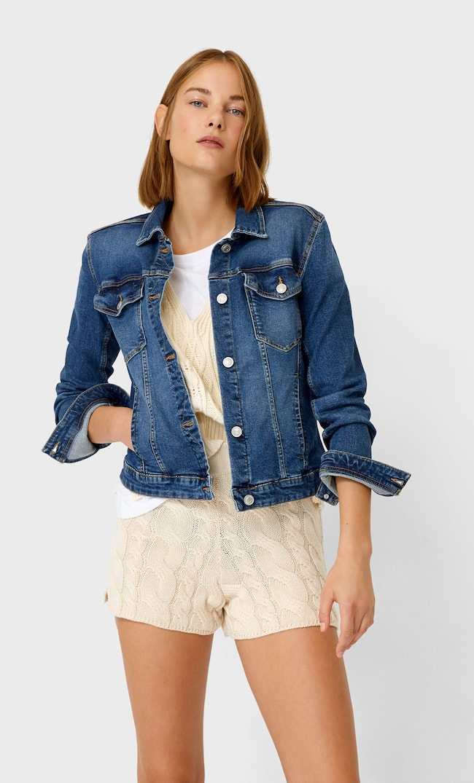 Джинсовая Куртка Облегающего Кроя Женская Коллекция Средний Деним Xs