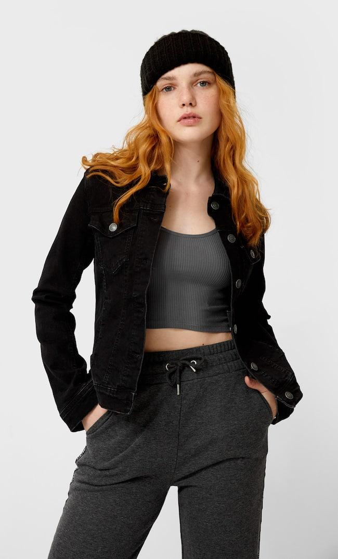 Джинсовая Куртка Облегающего Кроя Женская Коллекция С Эффектом Потертости Xs