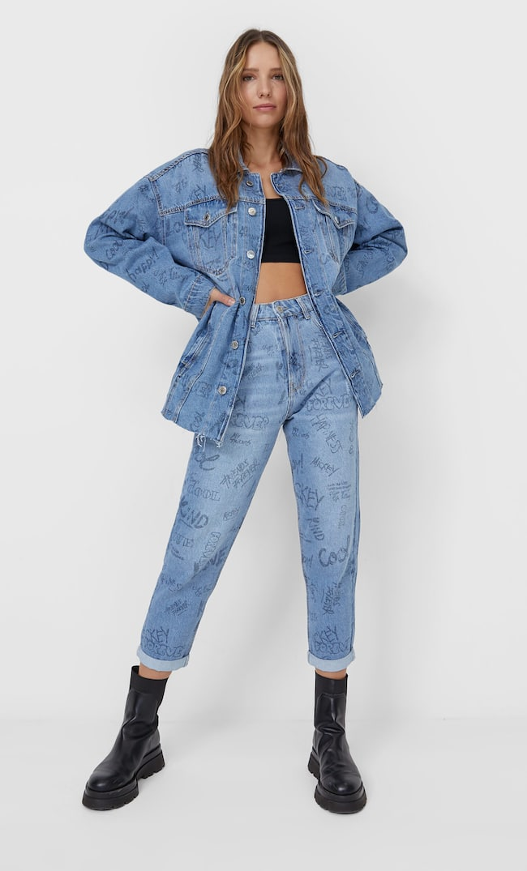 Джинсовая Куртка «Микки Маус» Женская Коллекция Синий С Эффектом Потертости Xs