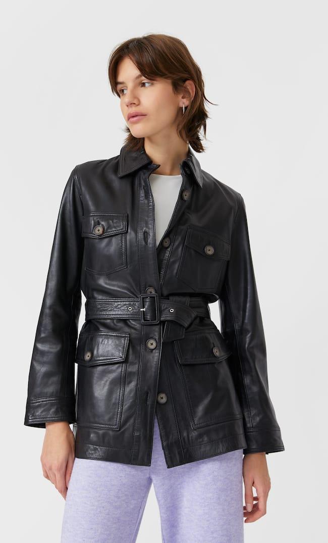 Кожаная Куртка Сафари С Поясом Женская Коллекция Черный L