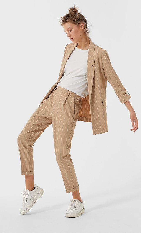 Пиджак Из Струящейся Ткани В Полоску Женская Коллекция Бежевый S