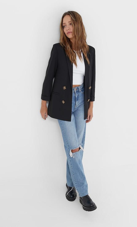 Двубортный Пиджак Без Застежки Женская Коллекция Черный M