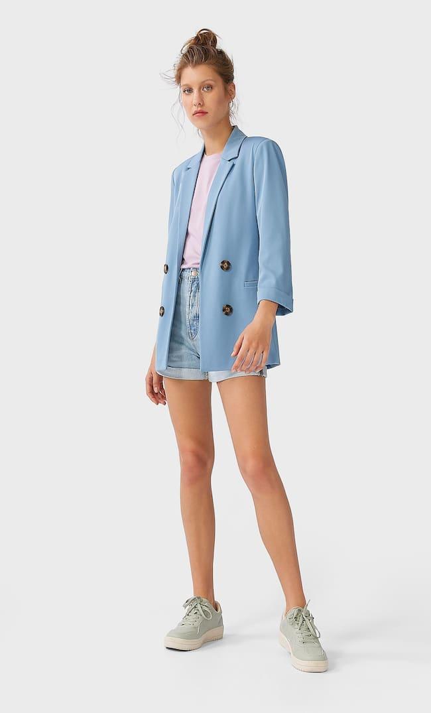 Двубортный Пиджак Без Застежки Женская Коллекция Синий Xs