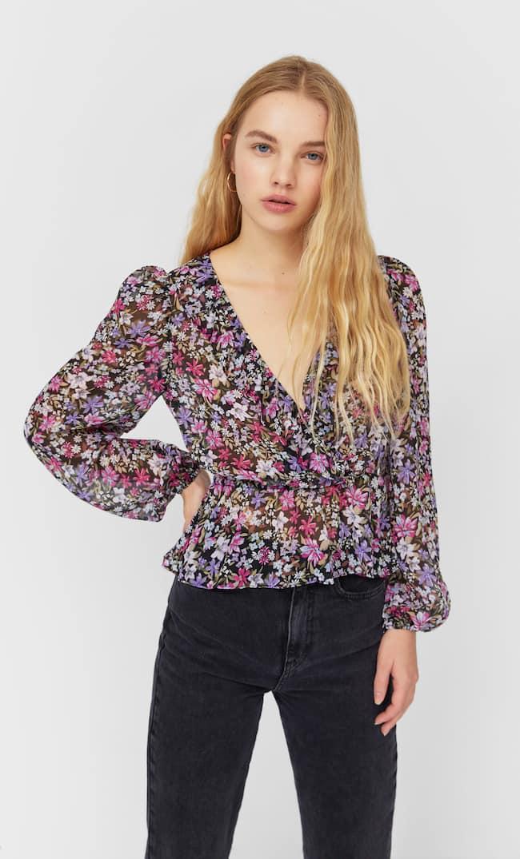 Блуза С Принтом Женская Коллекция Черный M