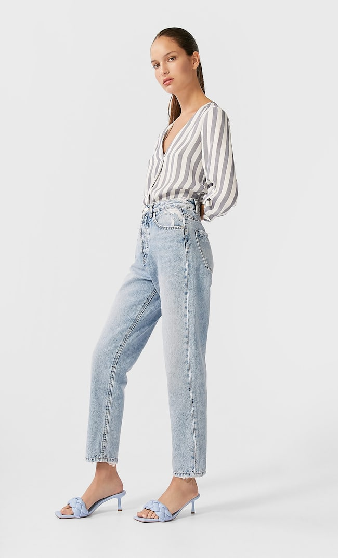 Длинная Рубашка С V-Образным Вырезом Женская Коллекция Морской Темно-Синий L