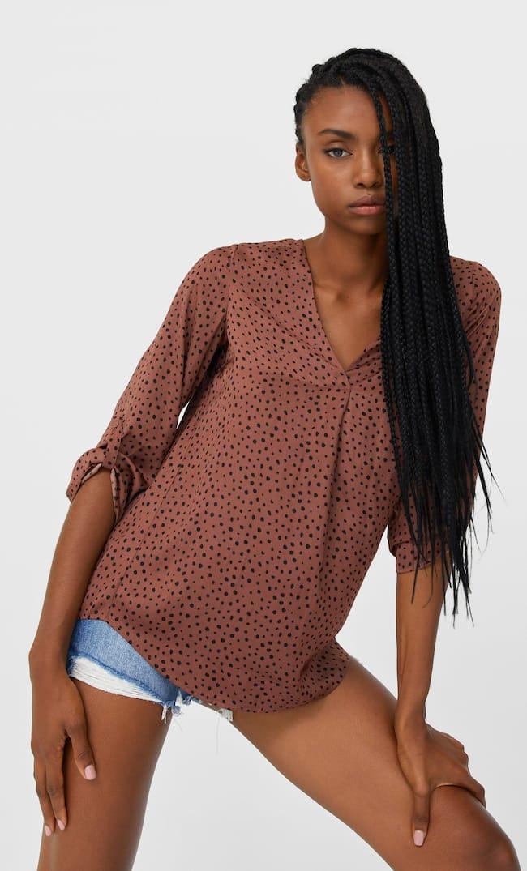 Длинная Рубашка С V-Образным Вырезом Женская Коллекция Цвет Темной Верблюжьей Шерсти S