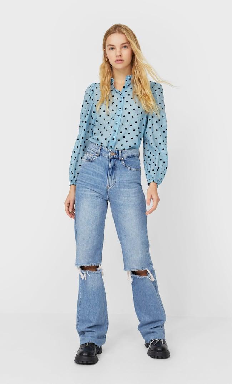 Рубашка В Горошек С Объемными Рукавами Женская Коллекция Небесно-Голубой S