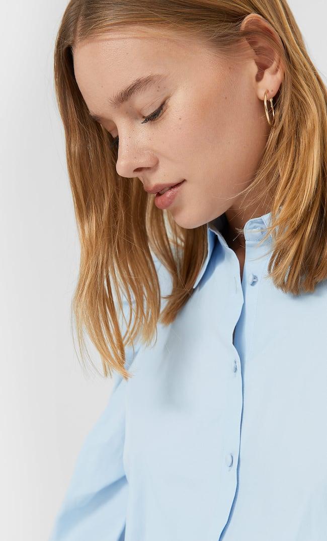 Рубашка Из Поплина С Длинными Рукавами Женская Коллекция Небесно-Голубой L