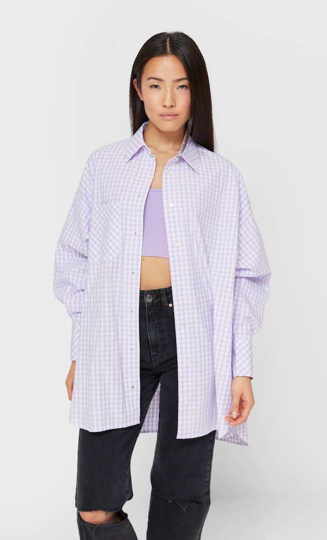 Рубашка Объемного Кроя Из Поплина Женская Коллекция Сиреневый S