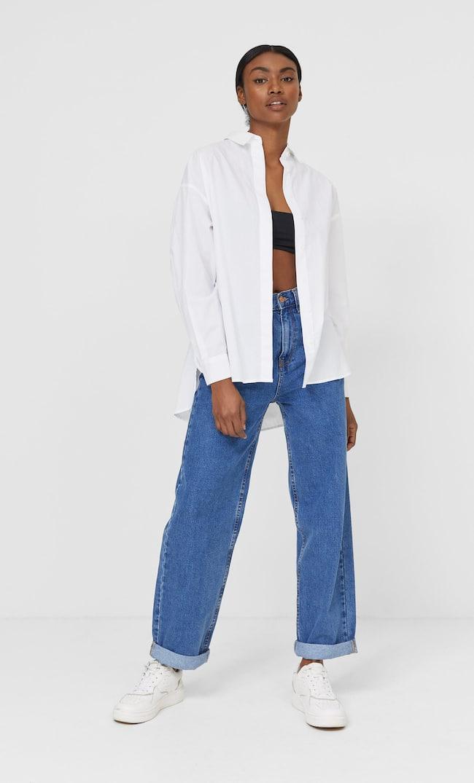 Рубашка В Стиле Бойфренд Женская Коллекция Белый S