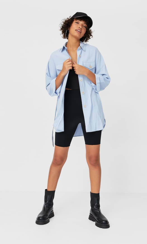 Длинная Рубашка Из Лиоцелла Женская Коллекция Небесно-Голубой S