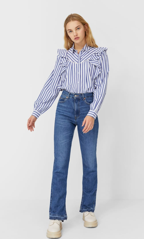 Блуза В Полоску С Воланами Женская Коллекция Морской Синий L