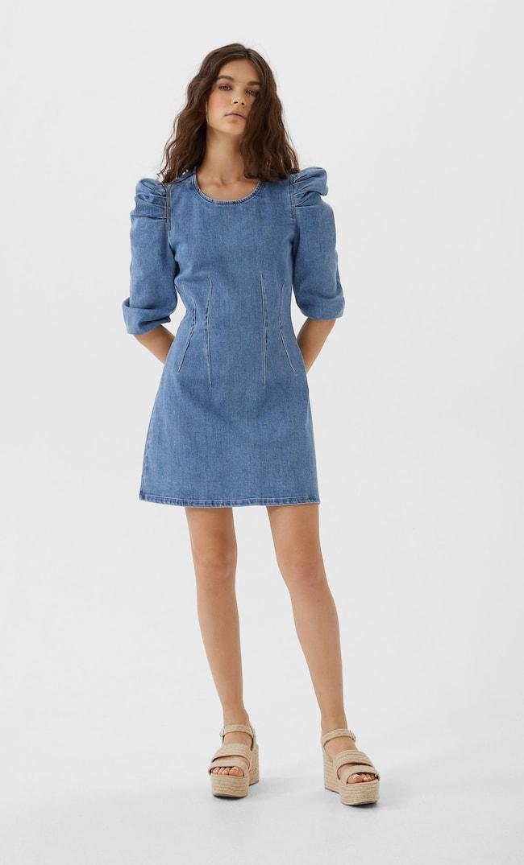 Джинсовое Платье С Объемными Рукавами Женская Коллекция Средний Деним L