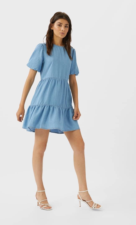 Короткое Джинсовое Платье Женская Коллекция Средний Деним M