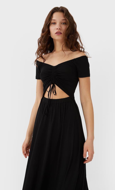 Длинное Платье С Разрезом Женская Коллекция Черный L