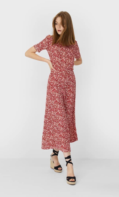 Платье Миди С Принтом Женская Коллекция Красный S