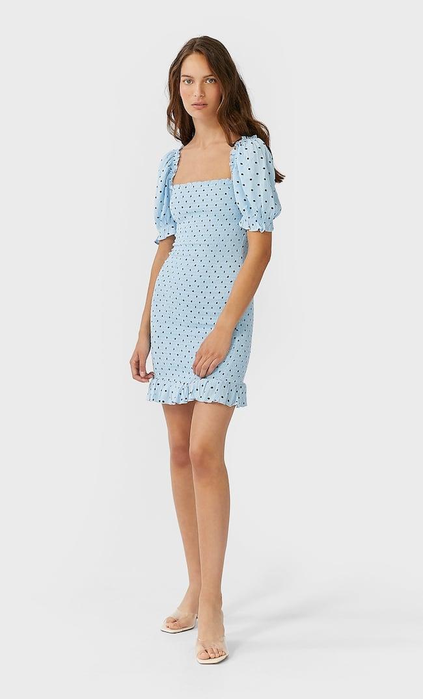 Короткое Платье Облегающего Кроя Женская Коллекция Небесно-Голубой L