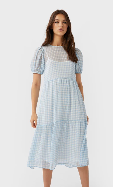 Платье Миди В Клетку Женская Коллекция Небесно-Голубой M