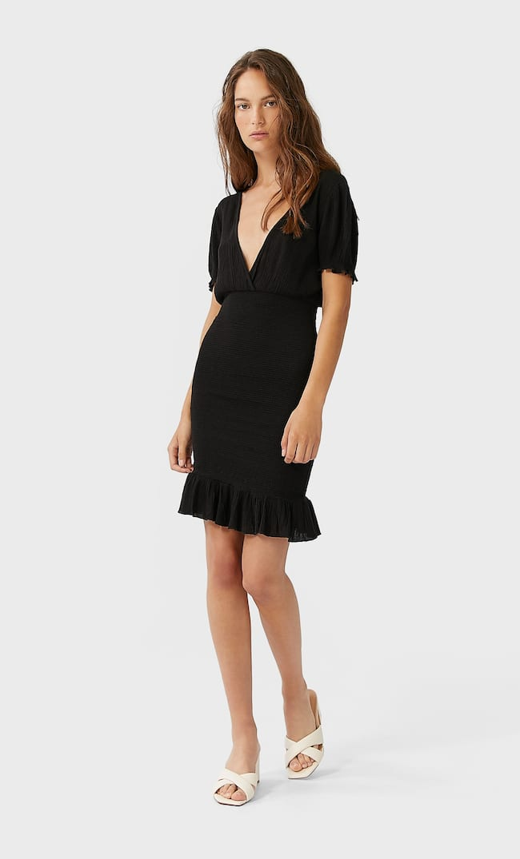 Короткое Платье С V-Образным Вырезом Женская Коллекция Черный S