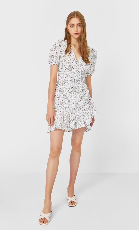 Мини-Платье С Воланами Женская Коллекция Multicolor M