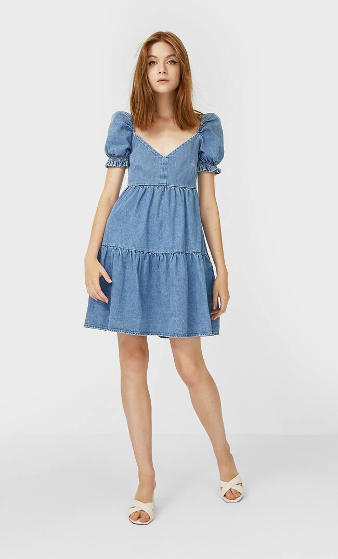 Джинсовое Платье С Объемными Рукавами Женская Коллекция Средний Деним S