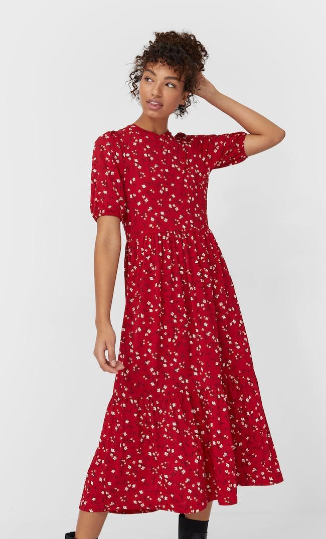 Длинное Платье С Принтом И Объемными Рукавами Женская Коллекция Красный S