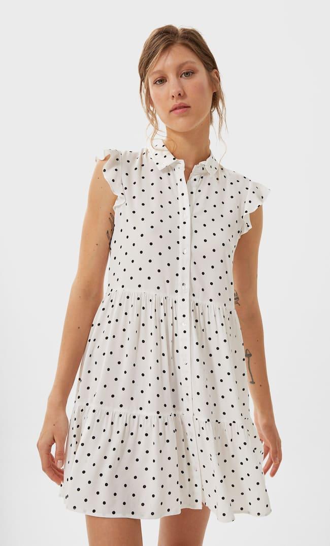 Короткое Платье С Рубашечным Воротником Женская Коллекция Цвет Небеленого Полотна M