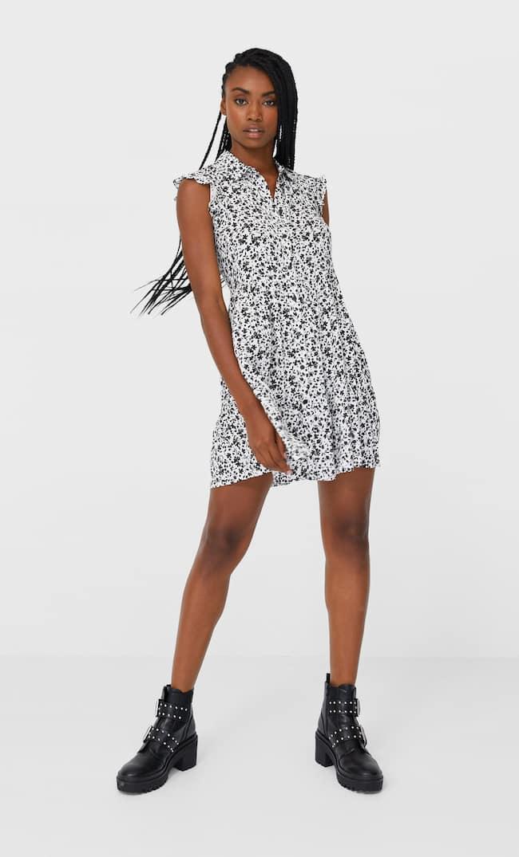 Короткое Платье С Рубашечным Воротником Женская Коллекция Multicolor S
