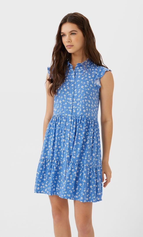 Короткое Платье С Рубашечным Воротником Женская Коллекция Multicolor L