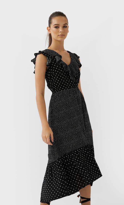 Длинное Платье В Горошек В Стиле Пэчворк Женская Коллекция Черный S
