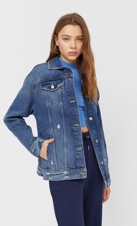 Джинсовая Куртка Объемного Кроя С Разрывами Женская Коллекция Средний Деним L