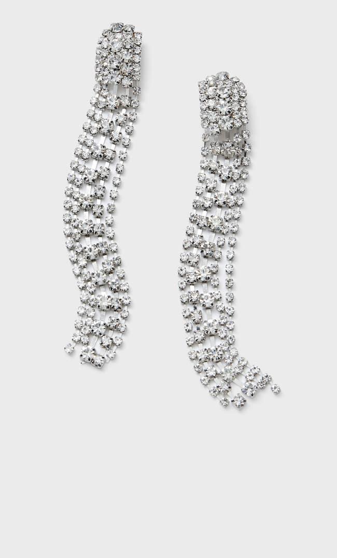 Длинные Серьги Со Стразами Женская Коллекция Серый 103