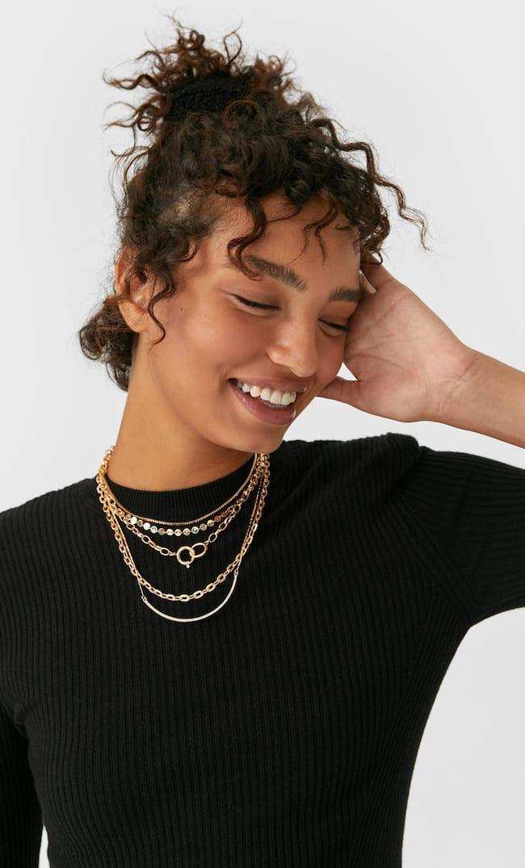 Набор Из 5 Металлических Ожерелий Женская Коллекция Желтый 103