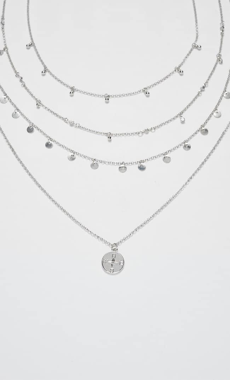 Набор Из 4 Цепочек С Подвесками В Виде Монет И Кристаллов Str Женская Коллекция Серый 103