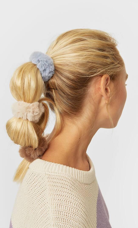 Набор Из 3 Резинок Для Волос, Из Искусственного Меха Женская Коллекция Небесно-Голубой 103