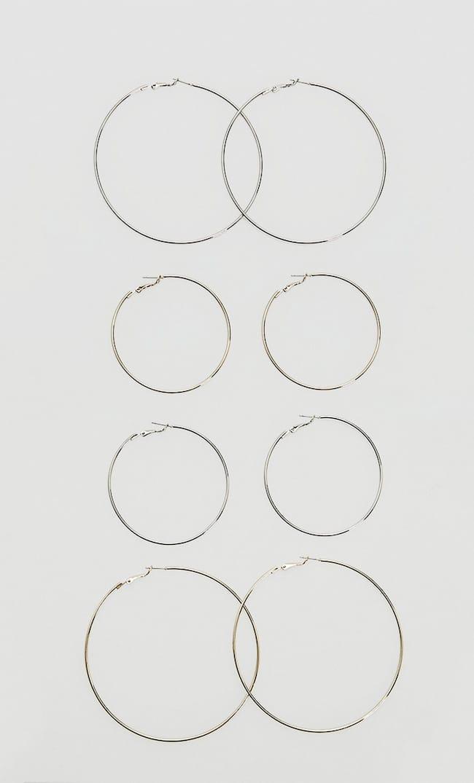 Набор Из 4 Пар Крупных Серег-Колец Str Женская Коллекция Серый 103