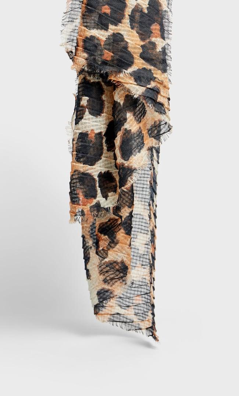 Шарф С Плиссировкой И Леопардовым Принтом Женская Коллекция Черный 103