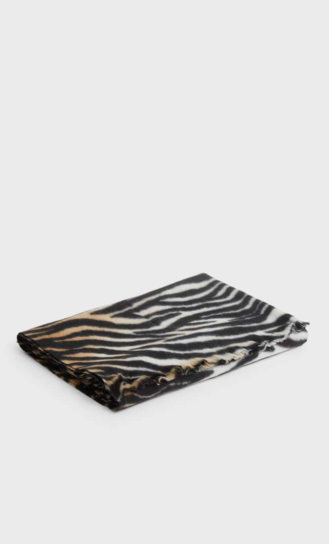 Zebra Print Scarf Женская Коллекция Черный 103