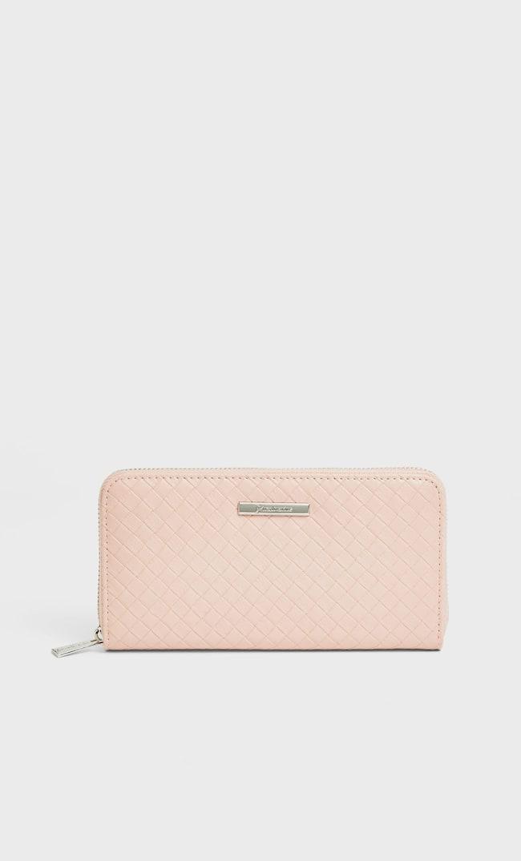 Бумажник С Плетеным Узором Женская Коллекция Цвет Розового Макияжа 103